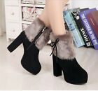 Women High Heel Chunky Faux Suede Zip Faux Fur Platform Ankle Boots Winter Shoes