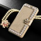 Luxury Handmade Diamond Pearl Flip Cover Stand Wallet Case for iPhone Samsung