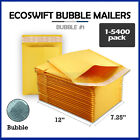 "1-5400 #1 7.25x12 ""EcoSwift"" Kraft Bubble Mailers Padded Envelope Bags 7.25 x 12"