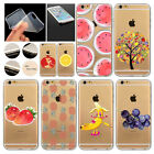 For iPhone 4S 5 5S 5C 6 6S 6Plus TPU Transparent Fruit Patterns Clear Case Cover