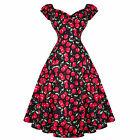 Collectif Dolores Doll Rockabilly Cherry Dot Vintage 50s Prom Swing Dress
