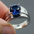 Sz 9-11COOL Mens Handmade Stainless Steel Round Sapphire Band Ring Free Shipping