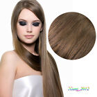 "New 15""- 22"" Human Hair Clips In Extensions 7Pcs 15 Clips 75g Medium Brown #6"