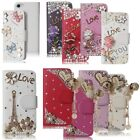 3D Luxury Flip Leather Wallet Case with Bling Rhinestones Pearl for Girls Women