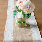 """Burlap and Lace Table Runner 12""""/30cm Wide 48-156"""" Long Upick Chic Wedding Decor"""
