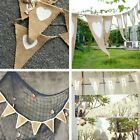 Vintage Heart Lace Jute Burlap Hessian Bunting Shabby Wedding Party Venue Banner