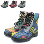 New Women Rain Boots Retro Comfort Ankle Wellies Lace Up Hiking Waterproof Shoes