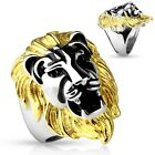 Stainless Steel Men's Gold Mane Lion Head Ring Size 9-14