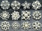 20/40/100pc Silver Pearl Crystal Brooch Pin Bridal Supply Wedding Bouquet Mix