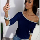 Women Off-Shoulder Cotton Top Casual Tee Clubwear Sexy T-Shirt 3/4 Sleeve Blouse