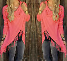 Fashion Women's Casual Slim Classic Long Slash Fringed Jacket Coat Tops Blouse