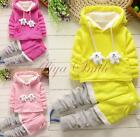 2PCS Toddler Kids Girls Winter Warm Hoodie Top Pants Outfits Thick Clothes Hands
