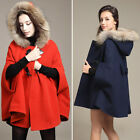 New US 4 - 16 Oversize Hooded Poncho Cape Coat Winter Warm Faux Fur Jacket Cloak
