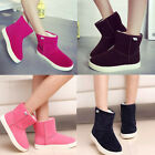 Women Girl Winter Warm Mid-calf Snow Ankle Boots Artifical Fur Suede Flat Shoes