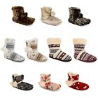 Ladies Dunlop Furry Ankle Boot Bootee Slipper Womens Eskimo Slippers Warm Lining