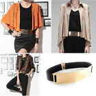 Hot Gold Metal Leather Metallic Mirror Waist Stretch Elastic Belt Band Waistband