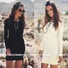 Rare Sexy Womens V neck Bandage Casual Evening Party Beach Mini Dress