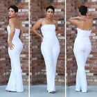 Sexy Women white lace strapless boycon slim casual Wide leg jumpsuit playsuit