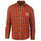 Men's Cleveland Browns Wordmark Flannel Button Down Long Sleeve Shirt PICK SIZE $52.5 USD on eBay