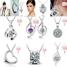 UK CH Womens Necklace Pendants Silver Plated Copper Chain Jewelry Sweet Cheap