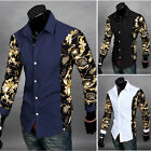2016 New Fashion Men's Long Sleeve Formal Slim Fit Floral Casual Dress Shirt