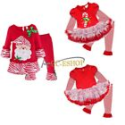 Toddler Baby Girl Christmas Santa Claus Costume Shirt Dress+Pants Outfit Clothes