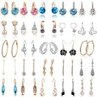 1 Pair Womens Elegant Fashion Rhinestone Dangle Ear Stud Earrings Crystal Chain