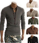 New Arrival Fashion Men's Casual Cotton Slim V-neck Long Sleeve Tops Tee T-shirt