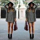 Fashion Women Sexy Loose Top Casual Long Sleeve Party Dress Wave Pattern