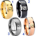 Tungsten Military Pow 8MM Dome Gold IP Black Silver Rose Men's Ring