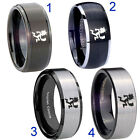 Tungsten Hatchetman 8MM Black Step Dome Beveled Edges Pip Cut Men's Ring