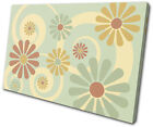 Floral Swirls Retro Vintage SINGLE CANVAS WALL ART Picture Print VA