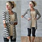 Autumn Women Striped Cardigan Long Sleeve Casual Loose Sweater Elbow Patch