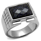 Blue Sand Rectangle Top Silver Stainless Steel Mens Ring