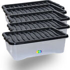 32L Storage Box Underbed Boxes Plastic Containers with Black Locking Lids