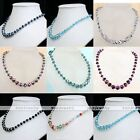"Crystal Glass Faceted Rondelle Bead Statement Women Necklace Jewelry 19"" Gift"