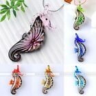 1pc Dichroic Sea Horse Murano Lampwork Glass Bead Pendant For Chain Necklace Hot
