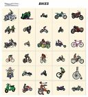 BIKES. CD machine embroidery designs files  most formats. transportation