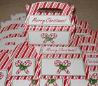 Lot of 6 or 12 Merry Christmas red & white candy cane treat cookie gift box