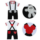 Baby Boy Formal Suit Tuxedo Mickey Mouse Romper One Piece Outfit Gentleman 6-18M