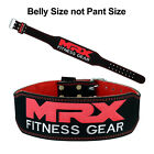 "MRX 4"" Leather Weight Lifting Belt Gym Training Back Support Fitness Exercise BR"