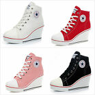 Fashion Women Shoes Canvas High Top Wedge Heel Sneakers Height Increasing 6-9.5