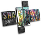 Shanghai Typography City MULTI CANVAS WALL ART Picture Print