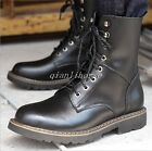 Men's Riding Booats Lace Up Block Low Heel Mid Calf Boost Combat Military Shoes