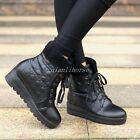 Women's Snow Boots Casual Shoes Lace Up Winter Warm Fur Lined Hidden Heel Shoes