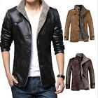 Fashion Men's Winter Jacket Leather Coat Fur Parka Fleece Jacket Slim Coat