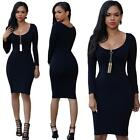 New Women Slim Bodycon Dress Bandage Long Sleeve Party Cocktail Mini Short Dress