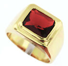 Solitaire Ruby Red Stone 3.07ct 18kt Gold Plated Mens Ring