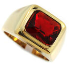 Garnet Red Stone 3.07ct 18kt Gold Plated Solitaire Mens Ring