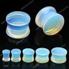 Pair Opalite Gemstone Ear Saddle Tunnel Plugs Expander Stretcher Gauges 6-14mm